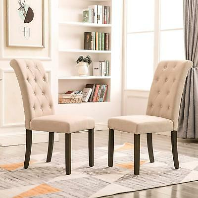 Button Tufted Upholstered Accent Dining Chair Modern Elegant Armless Set Of  2