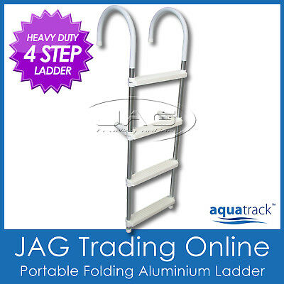 Aquatrack 4 Step Heavy Duty Aluminium Folding Boat Pool Gunwale Boarding Ladder