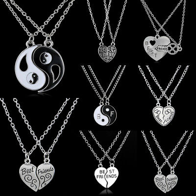 2PC Broken Heart Tai Chi Yin Tang Pendant Necklace Best Friends BFF Charm Jewely