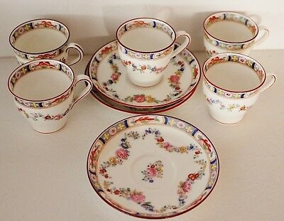 MInton A4307 Demitasse Cups & Saucers Antique Rose Floral Swags 5 Cups 3 Saucers