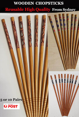 Reusable Japanese Style High Quality Bamboo Wooden Chopsticks 5 or 10pairs