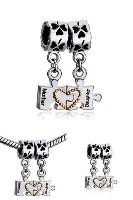 Heart Mother Daughter Charm Beads Pandora Bracelet Mom Love You To The Moon New