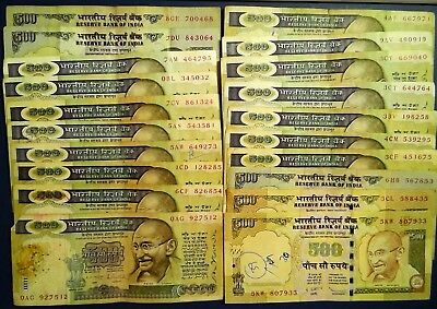 INDIA: 20 x 500 Rupee Banknotes - Fine to Very Fine Condition