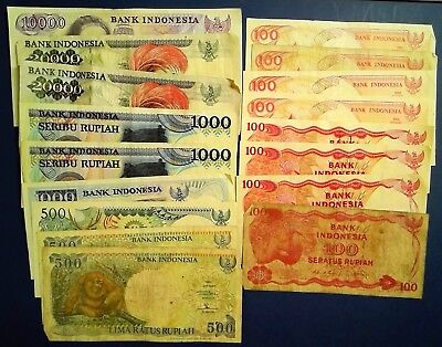 INDONESIA: Set of 20 Rupiah Banknotes Fine to Very Fine Condition