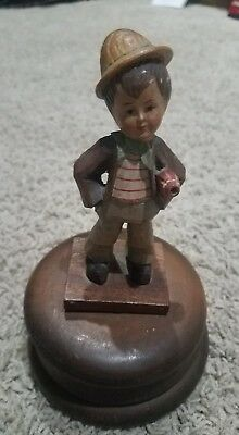 Schmid Linder Wood Carving Reuge Rotating Music Box Little Boy With Umbrella