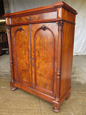 Superb victorian burr walnut cabinet buffet , arched panel doors with key (569)