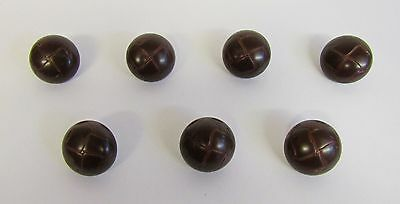"Vintage * 7 Oxford Leather-Look Dark Brown Buttons * 1"" (25 mm) Diameter"