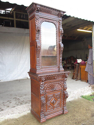 Superb victorian tall 2 part carved oak glazed bookcase with drawers (558)