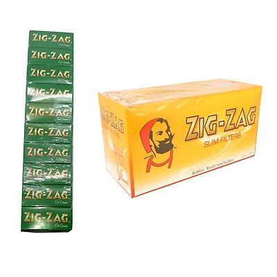 Zig Zag Green Regular Papers Pk Of 10(Each 8 Booklet)+Slim Filter 10 Bags Of 150