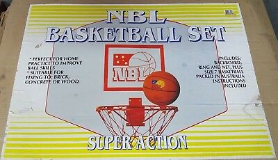Super Action NBL outdoor wall mounted basketball backboard, ring and ball