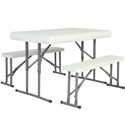 Folding Table & Benches Portable Indoor Outdoor Picnic Party Dining Kitchen