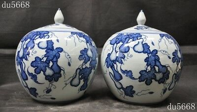rare antique old Chinese dynasty blue&white porcelain gourd Bottle Pot Vase Jar