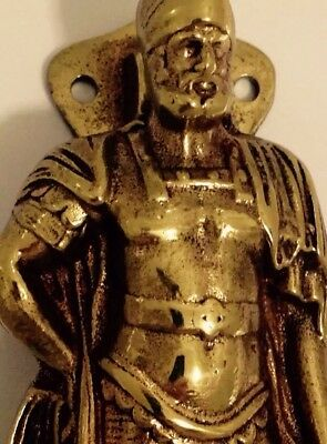 Vintage Cast Brass Door Knocker Roman Saxon Soldier Knight Antique Old