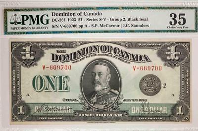 1923 Dominion of Canada $1 PMG VF35 DC-25f Series S-V Black Seal Item#T7225