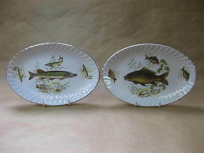 Pair of Vintage Fish Decorated Oval Plates ~ Royal Wessex by Swinnertons ~ 1960s