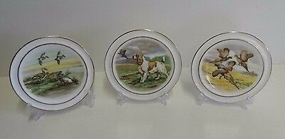 3 Vale Bone China Pheasants,ducks & Springer Spaniel Small Decorative Plates