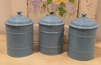 Antique Vintage French Enamel Soft Blue Canisters with Lids ~ Trio Unmarked