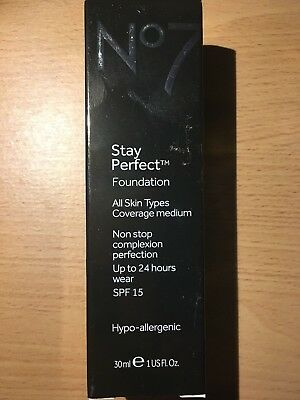 No7 Stay Perfect Foundation Coverage Medium SPF 15 30ml - Choose Shade