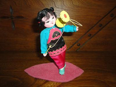 Antique Vintage Chinese Doll Figurine with Asian China String Toy