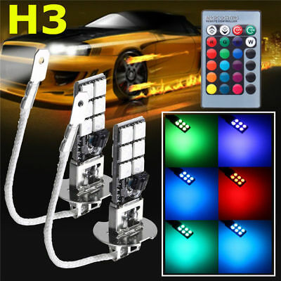 2pcs H3 5050 RGBW LED 12SMD Car Headlight Fog Light Lamp Bulb + Remote Control