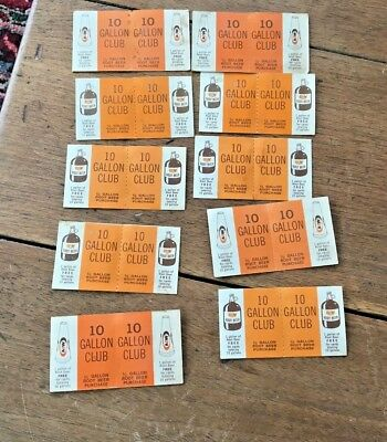A & W Root Beer 10 Gallon Club Vintage 10 Coupons Rantoul Illinois Stevers