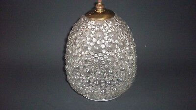 Vintage Glass Ornate Teardrop Ceiling Light Globe Porch Clear Art Deco EUC