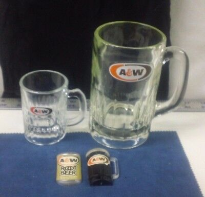 Vtg A & W Drinking Glass Soda Large & Mini Child Cup Can Shape Magnets w/handle
