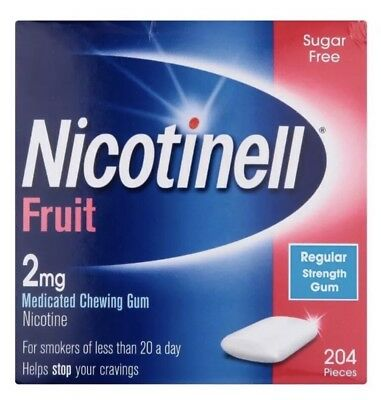 3 x Nicotinell Fruit Medicated Chewing Gum 204 Pieces 2mg