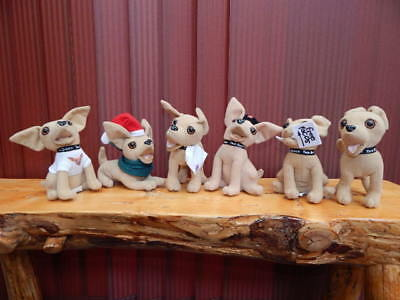 "Lot of 6 Vintage TACO BELL Advertising 6"" Plush Chihuahuas-Free Tacos,Beret,Tee!"