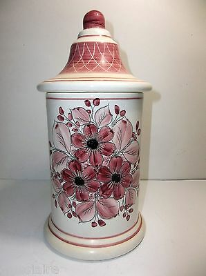 """Vintage Mexican Pottery APOTHECARY Jar 10.5"""" PINK FLOWERS"""