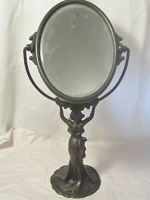 Vintage Art Deco  Bronze Metal Vanity Mirror / Woman In Gown And Bare Feet