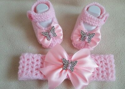 Hand knitted Romany Bling baby girls booties / Crochet headband.0-3 baby pink