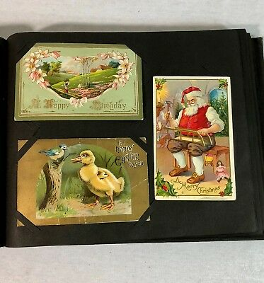 Vintage Post Card Album with 86 Postcards Christmas Birthday Holiday Early 1900s