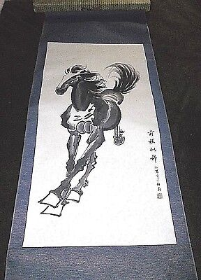 "Antique Chinese Watercolor Scroll Painting HORSE 54.5"" Signed In ORIGINAL Box"