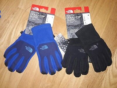 The North Face Youth Denali ETip Glove Size M & L color Black or Blue