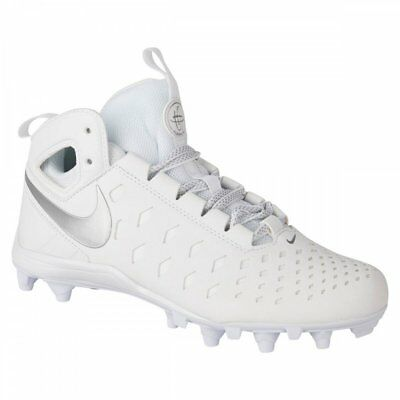 New Nike Huarache 5 LX Youth Lacrosse Cleats - White/Silver Size 3Y 807142-