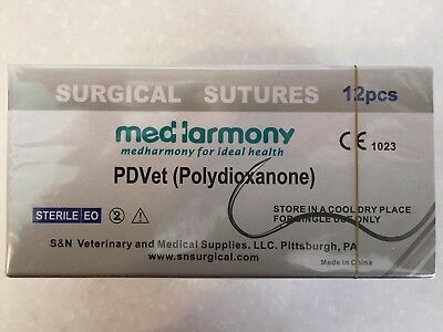 Practice & Veterinary Suture, PDO 2-0 75cm 24mm 3/8 rev cutting 12/bx PDVet