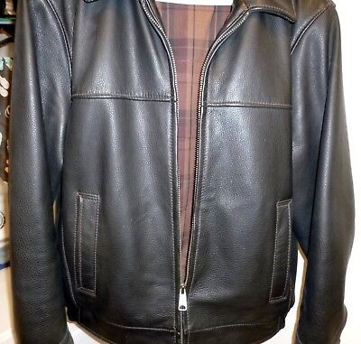 Dockers Genuine Leather Black Motorcycle / Bomber Jacket  Men's Size Small