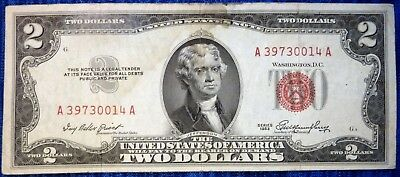 1953 Two Dollar Bill Red Seal $2 United States Note ~ A39730014A ~ F-1509