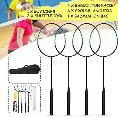 4 Player Badminton Racquet Set Racket / 2 Shuttlecocks / Net / Poles / Bag  AU