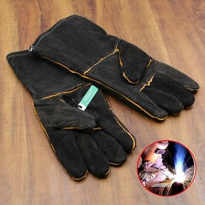 Pair HEAVY DUTY Wood Burner Welding Heat Resistant Leather Safety Gloves Stoves