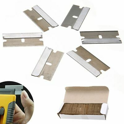 100 Single Edge Razor Blades Heavy Duty Carbon Steel Window Removal Oven Scraper