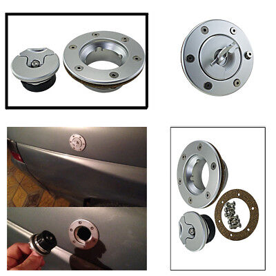 Billet Easy Fill Fuel Cell Gas Cap With 6 Hole Cell Bung Silver Color Anodized