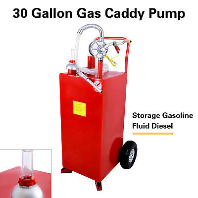 30 Gallon Gas Caddy Tank with Pump & Hose Fuel Storage Gasoline Fluid Diesel