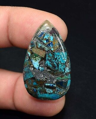 Beautiful ! 31.85 Cts. Natural  Silver  Azurite  Pear Cab For Silver Pendant