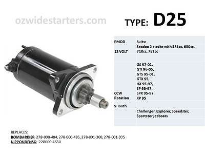 Seadoo starter motor for XP, GS, GTX, GTI, SP, SPX with 581, 650, 718cc engines