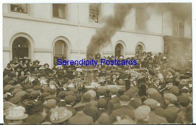 Helston Arrival of the New Steam Fire Engine SUPERB ANIMATED RP BRAGG Used 1910