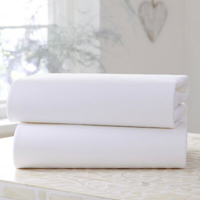 New Clair De Lune Two Pack White Jersey Cot Bed Flat Sheets 100% Cotton 130 X175