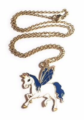 Winged unicorn charm necklace with gold plated stainless steel chain in gift box