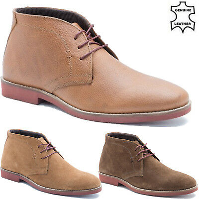 New Mens Smart Milled Leather Desert Casual Ankle Chukka Formal Lace Boots Shoes